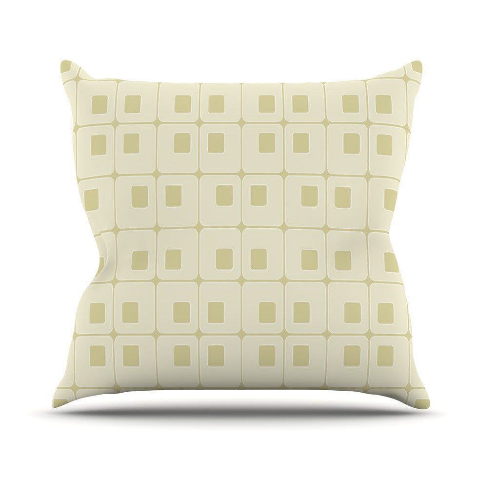 "Fotios Pavlopoulos ""Squares in Square"" Tan Shapes Outdoor Throw Pillow - KESS InHouse  - 1"