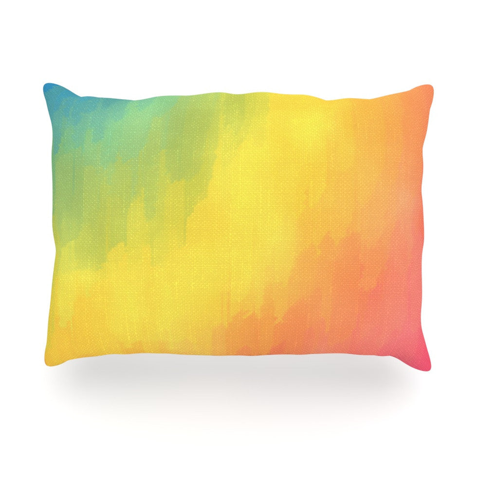 "Fotios Pavlopoulos ""Watercolor Layers"" Rainbow Oblong Pillow - KESS InHouse"