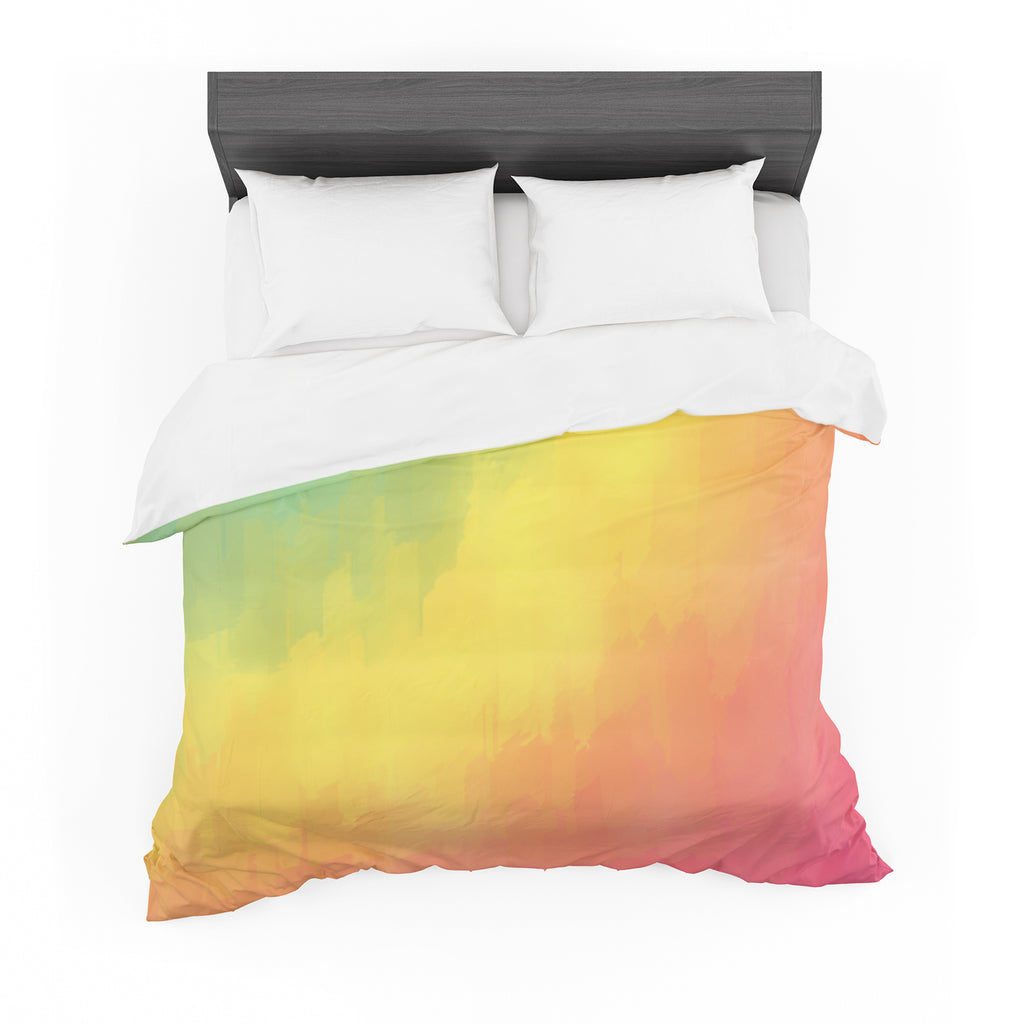 "Fotios Pavlopoulos ""Watercolor Layers"" Rainbow Featherweight Duvet Cover"