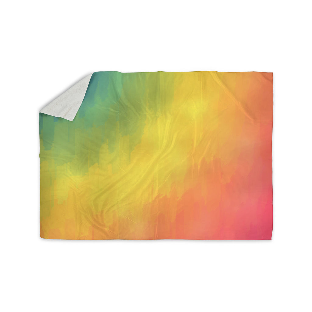 "Fotios Pavlopoulos ""Watercolor Layers"" Rainbow Sherpa Blanket - KESS InHouse  - 1"