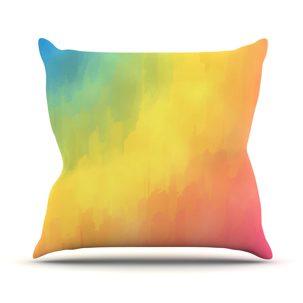 "Fotios Pavlopoulos ""Watercolor Layers"" Rainbow Outdoor Throw Pillow - KESS InHouse  - 1"