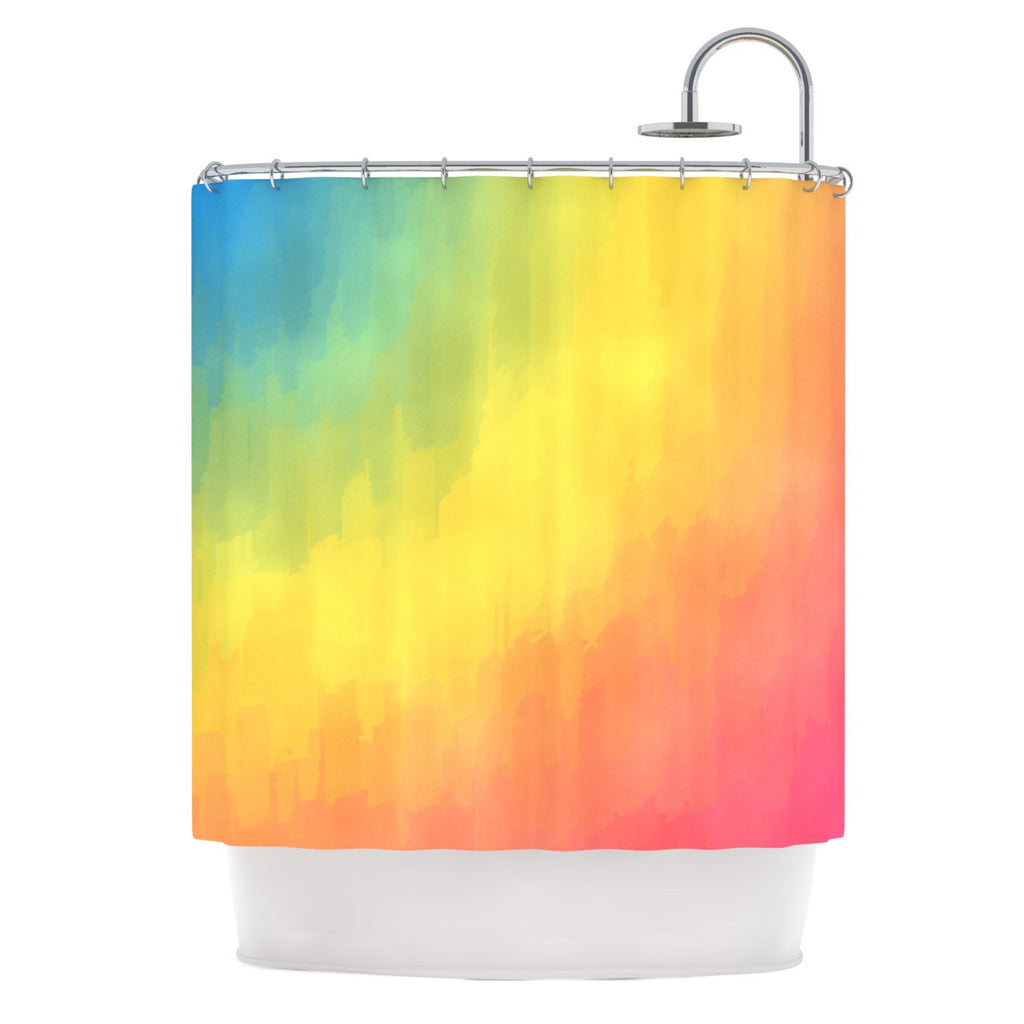 "Fotios Pavlopoulos ""Watercolor Layers"" Rainbow Shower Curtain - KESS InHouse"
