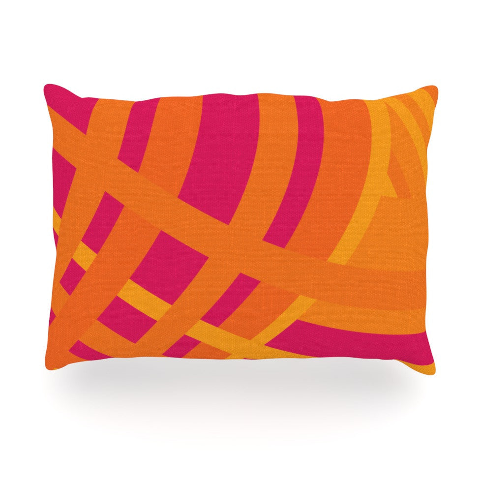 "Fotios Pavlopoulos ""Tangled"" Red Orange Oblong Pillow - KESS InHouse"
