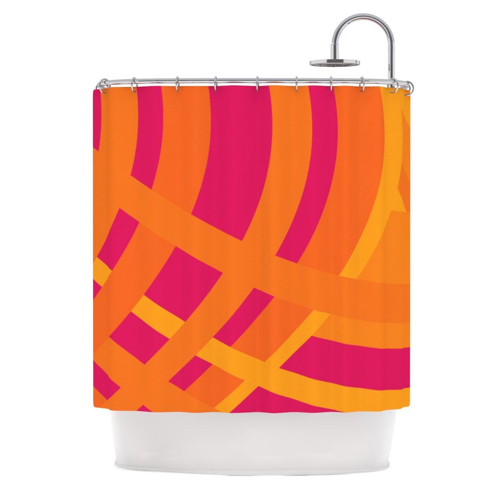 "Fotios Pavlopoulos ""Tangled"" Red Orange Shower Curtain - KESS InHouse"