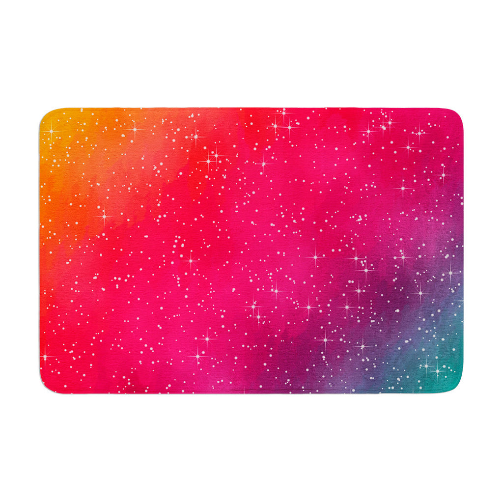 "Fotios Pavlopoulos ""Colorful Constellation"" Pink Glam Memory Foam Bath Mat - KESS InHouse"