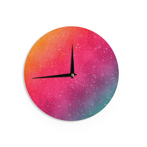 "Fotios Pavlopoulos ""Colorful Constellation"" Pink Glam Wall Clock - Outlet Item"