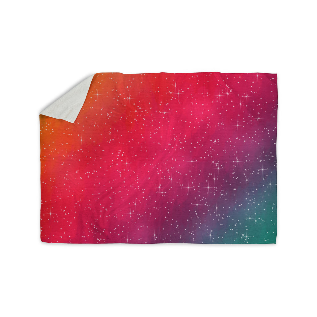 "Fotios Pavlopoulos ""Colorful Constellation"" Pink Glam Sherpa Blanket - KESS InHouse  - 1"