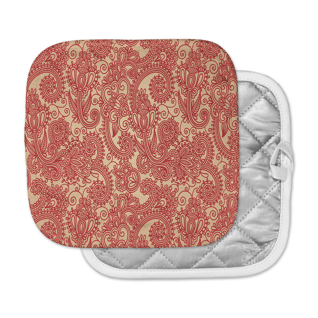 "Fotios Pavlopoulos ""Floral Loop"" Red Tan Pot Holder"
