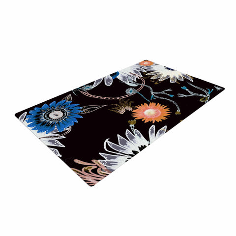 "Fernanda Sternieri ""Dancing Flowers"" Orange Abstract Woven Area Rug - Outlet Item"