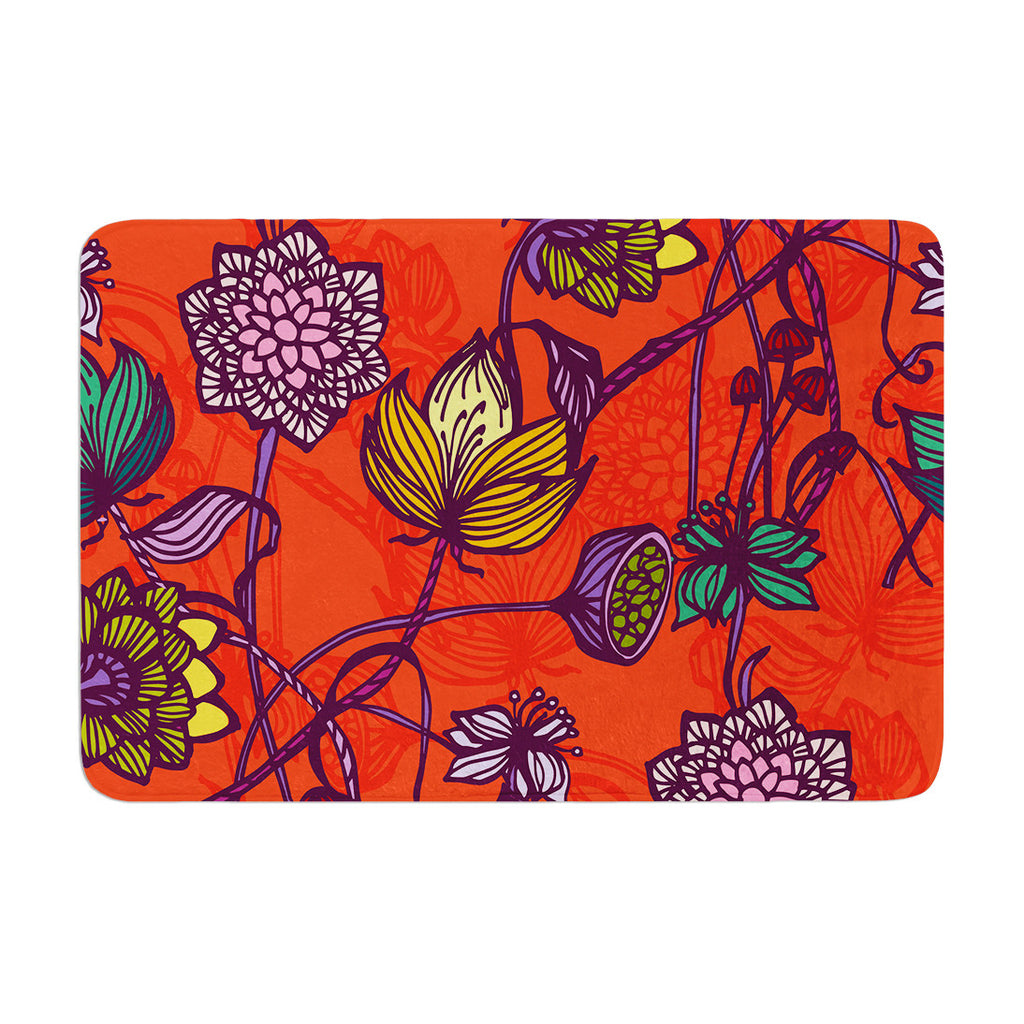 "Gill Eggleston ""Garden Blooms Hot Orange"" Red Floral Memory Foam Bath Mat - KESS InHouse"