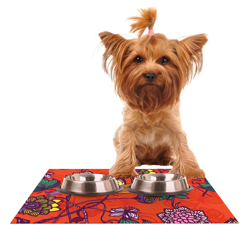 "Gill Eggleston ""Garden Blooms Hot Orange"" Red Floral Dog Place Mat - Outlet Item"