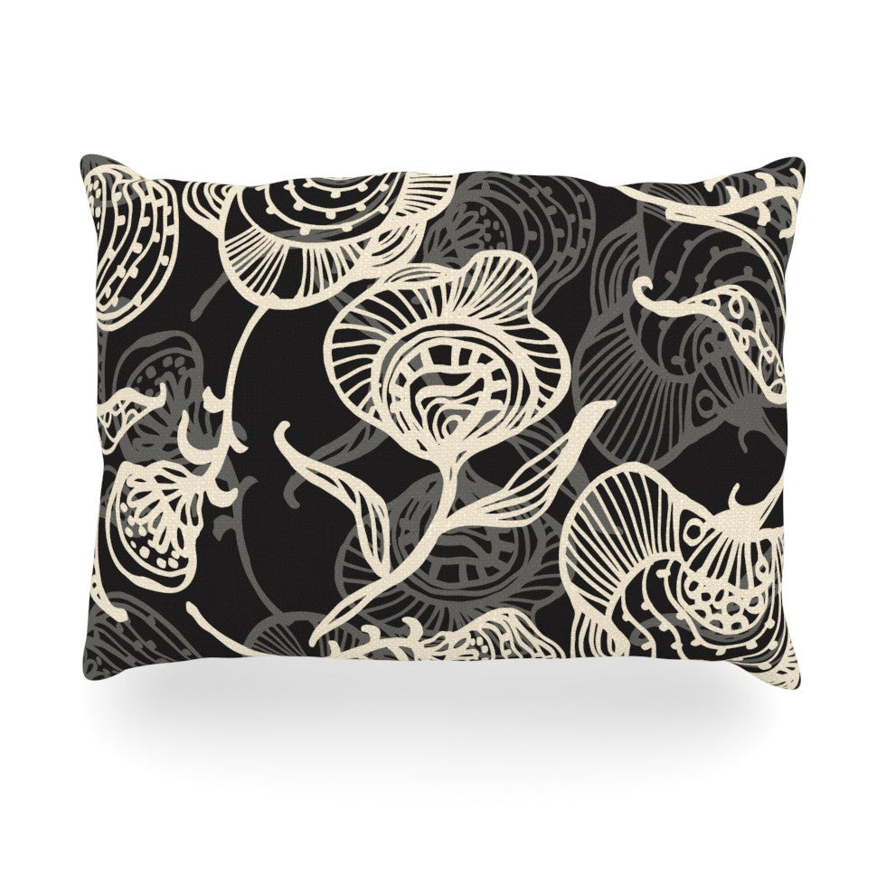 "Gill Eggleston ""Future Nouveau Lite"" Black White Oblong Pillow - KESS InHouse"