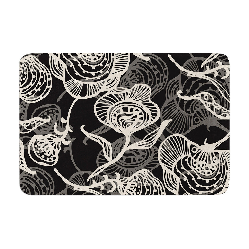 "Gill Eggleston ""Future Nouveau Lite"" Black White Memory Foam Bath Mat - KESS InHouse"