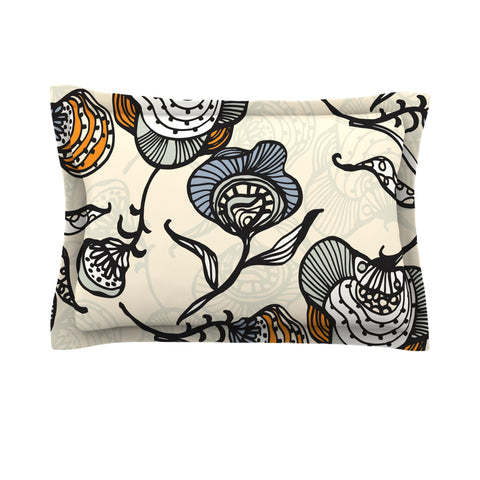 "Gill Eggleston ""Future Nouveau"" Tan Floral Pillow Sham - Outlet Item"