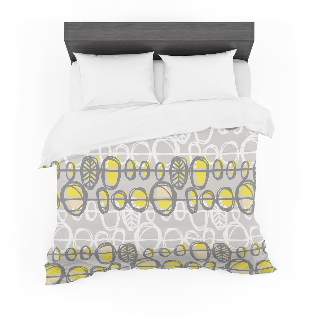 "Gill Eggleston ""Benin Yellow Grey"" Featherweight Duvet Cover"