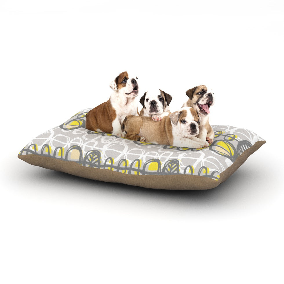 "Gill Eggleston ""Benin Yellow Grey"" Dog Bed - KESS InHouse  - 1"
