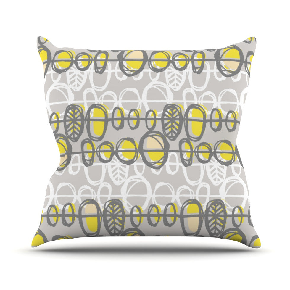 "Gill Eggleston ""Benin Yellow Grey"" Outdoor Throw Pillow - KESS InHouse  - 1"