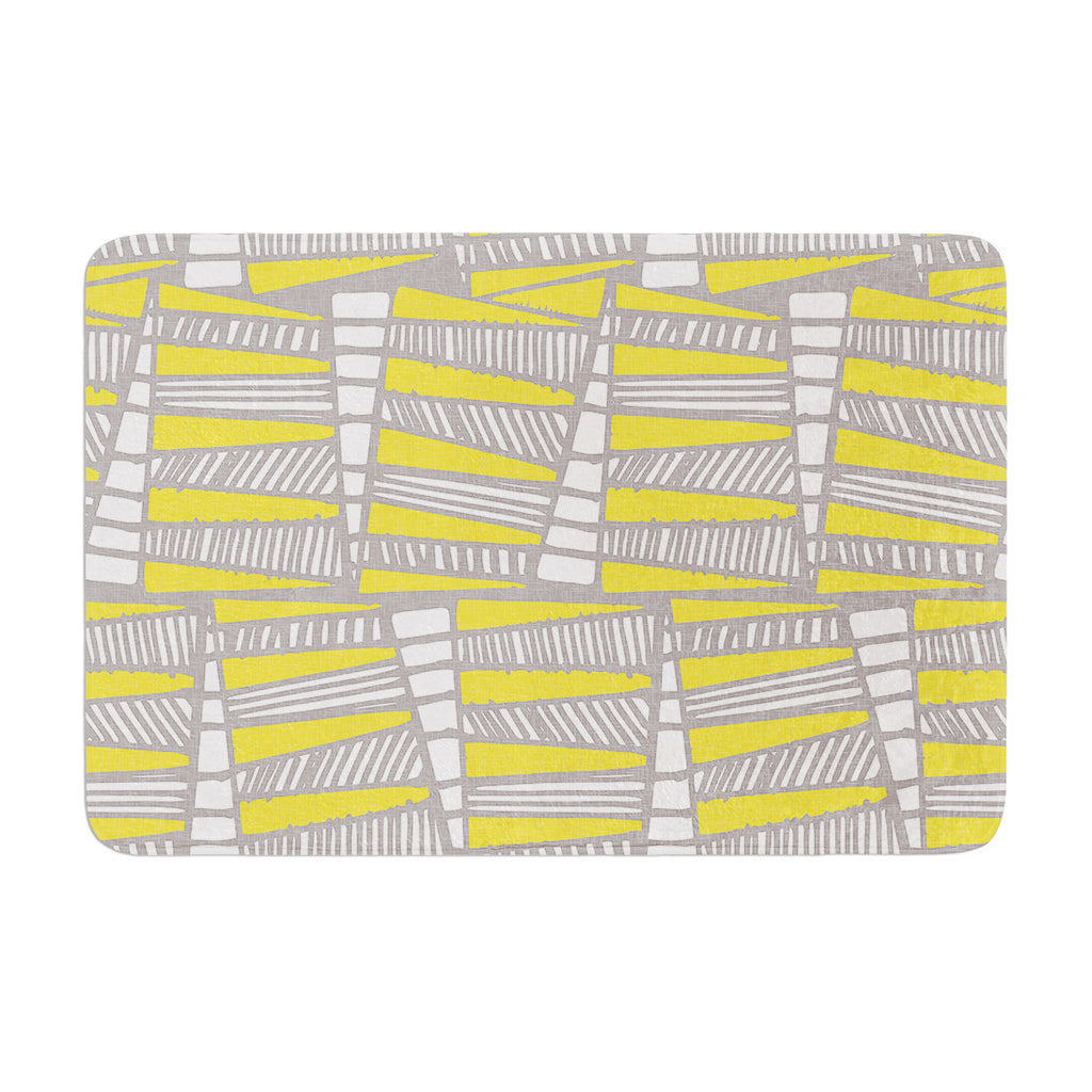 "Gill Eggleston ""Jaggi Yellow Grey"" Memory Foam Bath Mat - KESS InHouse"
