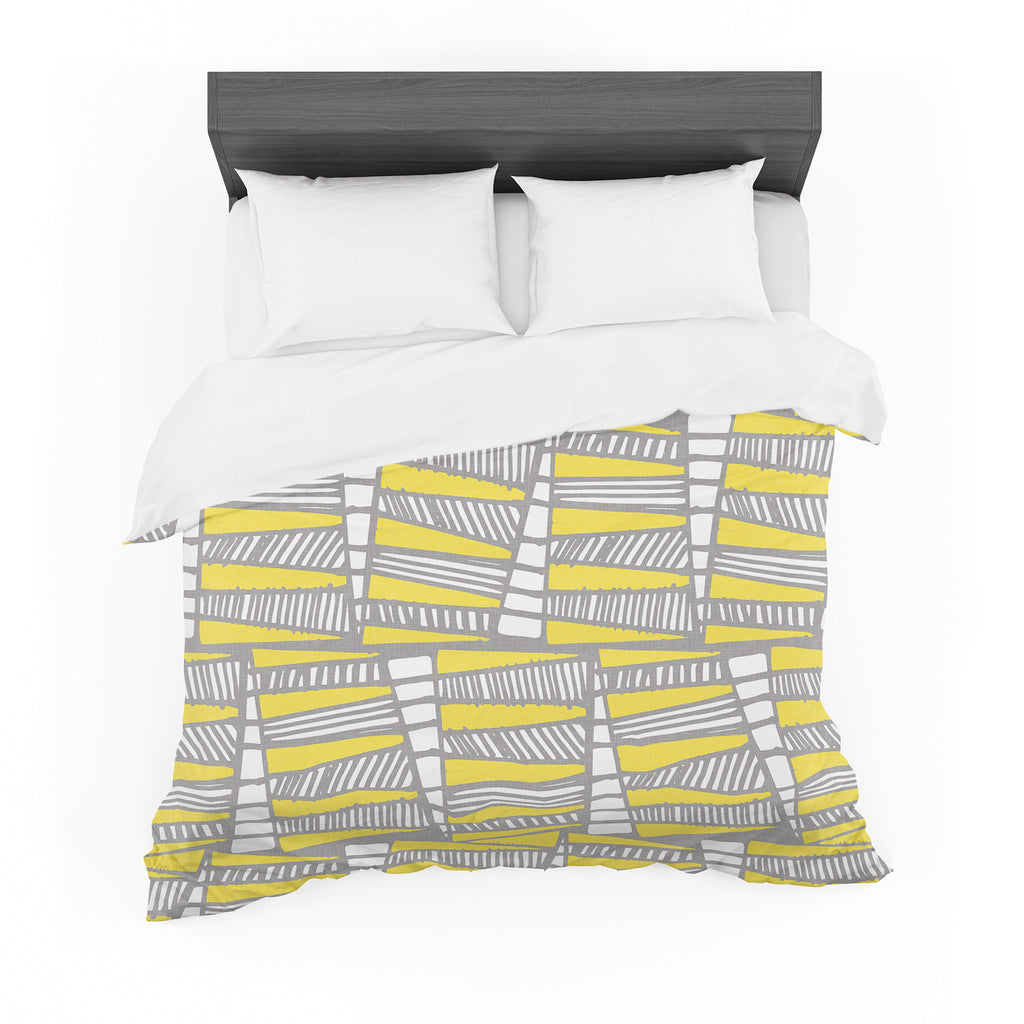 "Gill Eggleston ""Jaggi Yellow Grey"" Featherweight Duvet Cover"