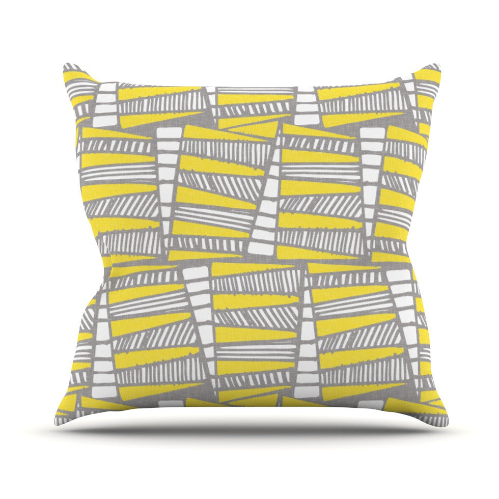 "Gill Eggleston ""Jaggi Yellow Grey"" Throw Pillow - KESS InHouse  - 1"
