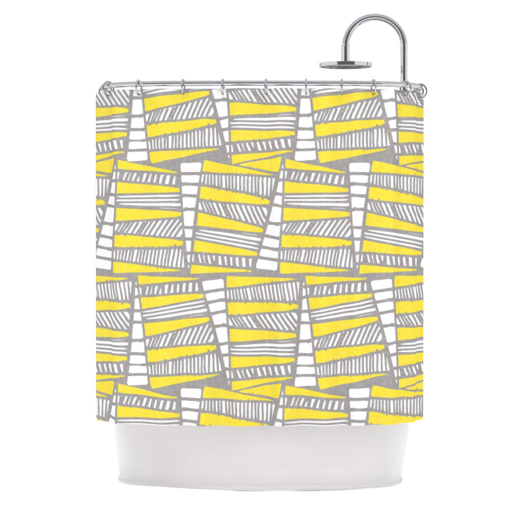 "Gill Eggleston ""Jaggi Yellow Grey"" Shower Curtain - KESS InHouse"