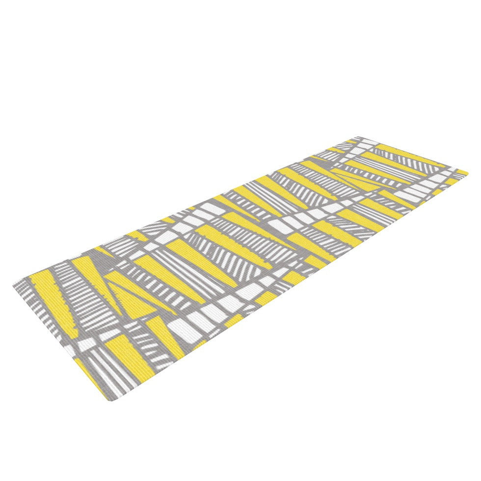 "Gill Eggleston ""Jaggi Yellow Grey"" Yoga Mat - KESS InHouse  - 1"