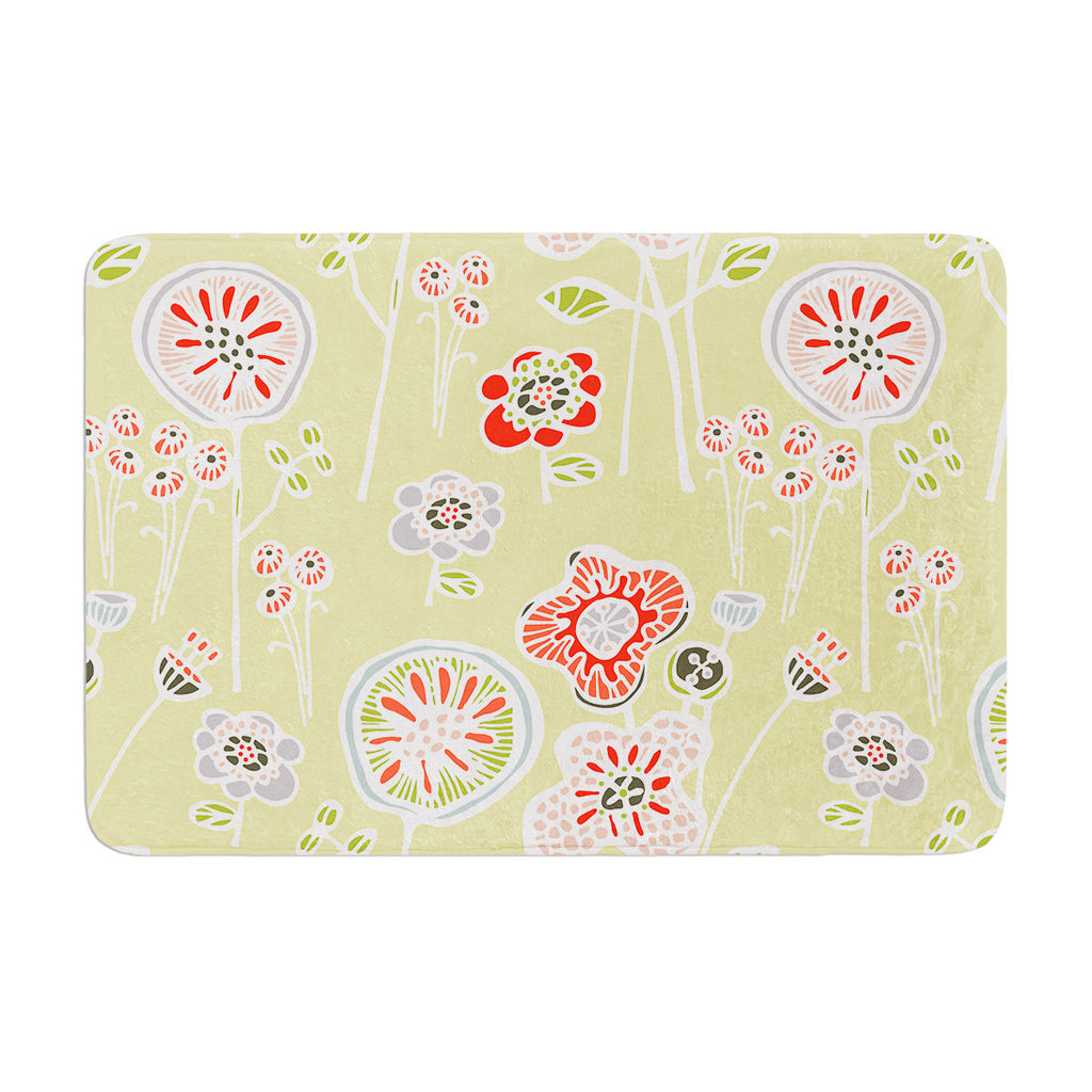"Gill Eggleston ""Folky Floral Lemon"" Green Yellow Memory Foam Bath Mat - KESS InHouse"