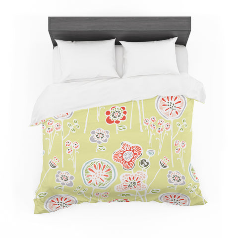 "Gill Eggleston ""Folky Floral Lemon"" Green Yellow Featherweight Duvet Cover - Outlet Item - KESS InHouse"