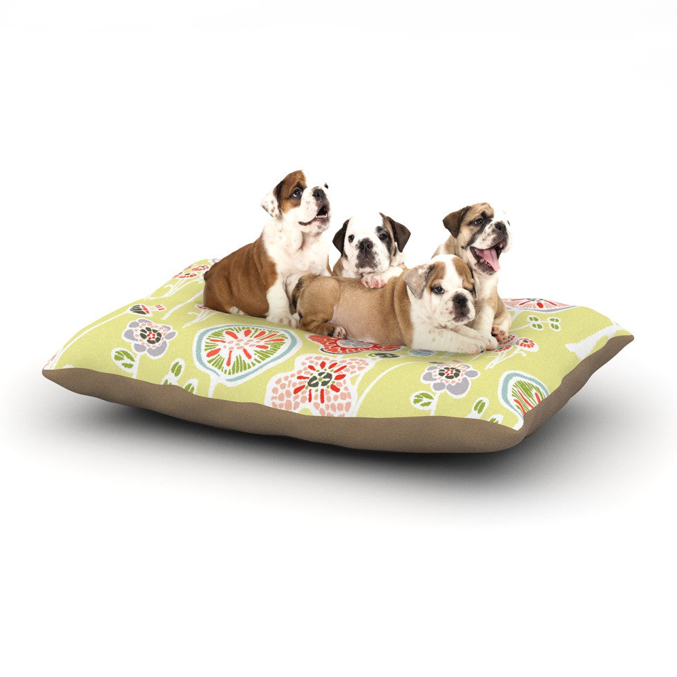 "Gill Eggleston ""Folky Floral Lemon"" Green Yellow Dog Bed - KESS InHouse  - 1"
