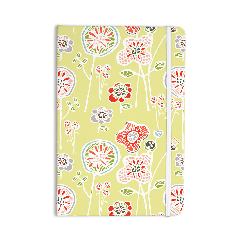 "Gill Eggleston ""Folky Floral Lemon"" Green Yellow Everything Notebook - KESS InHouse  - 1"