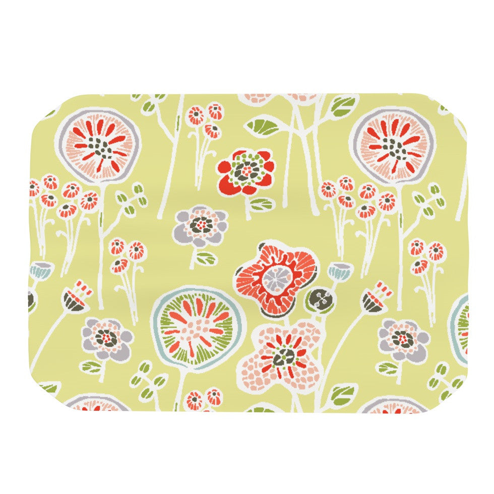 "Gill Eggleston ""Folky Floral Lemon"" Green Yellow Place Mat - KESS InHouse"