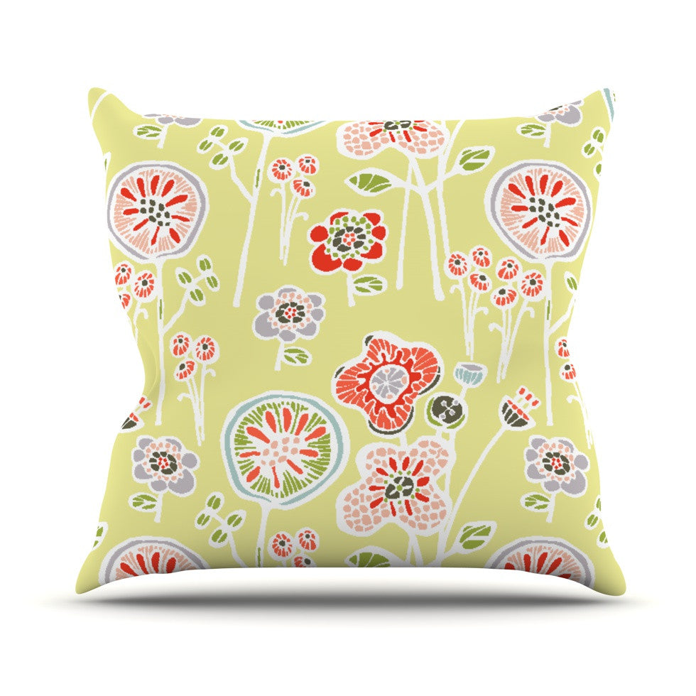"Gill Eggleston ""Folky Floral Lemon"" Green Yellow Outdoor Throw Pillow - KESS InHouse  - 1"