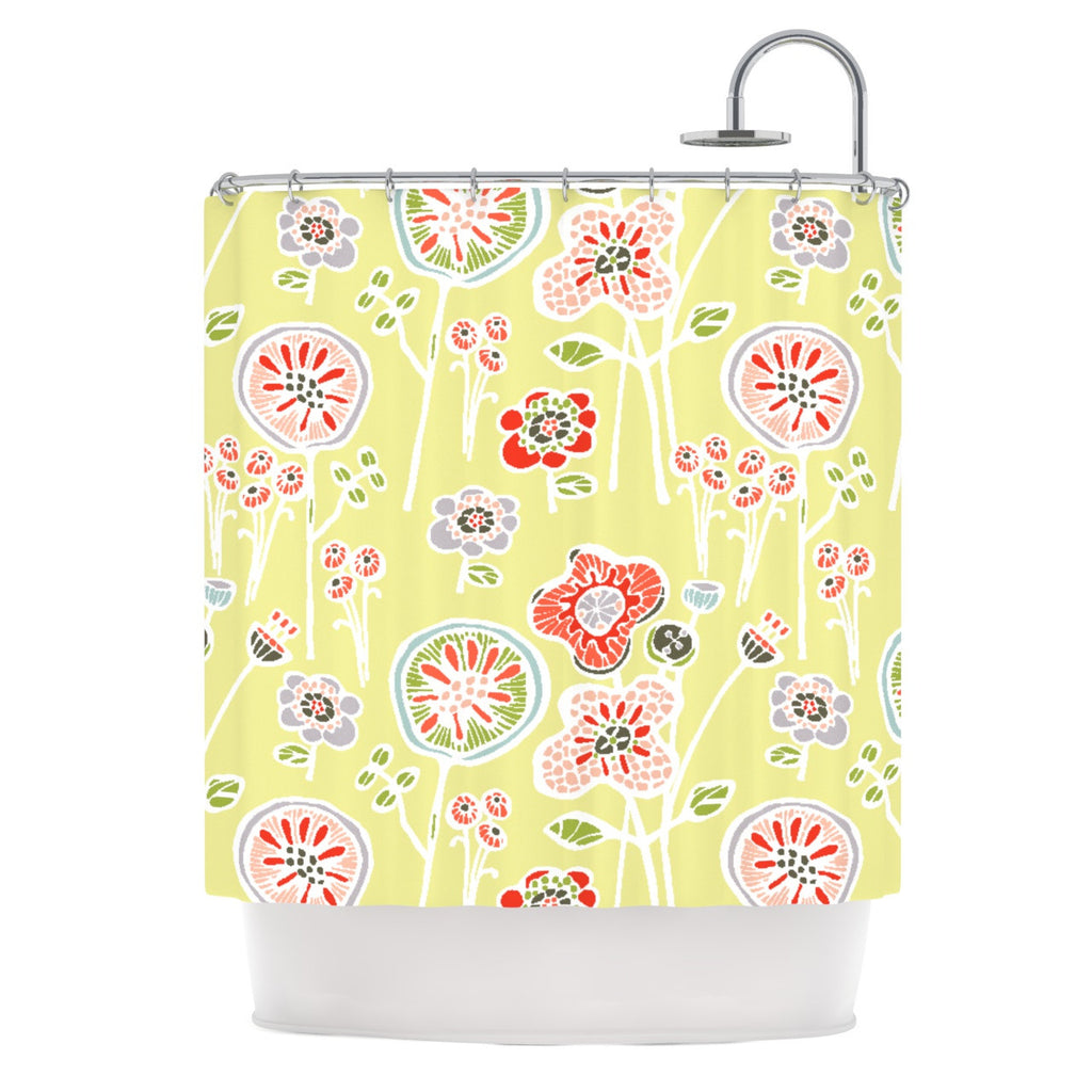 "Gill Eggleston ""Folky Floral Lemon"" Green Yellow Shower Curtain - KESS InHouse"