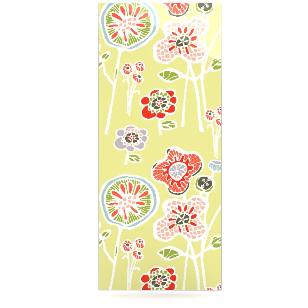 "Gill Eggleston ""Folky Floral Lemon"" Green Yellow Luxe Rectangle Panel - KESS InHouse  - 1"