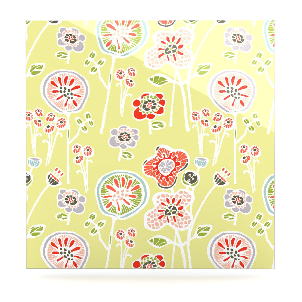 "Gill Eggleston ""Folky Floral Lemon"" Green Yellow Luxe Square Panel - KESS InHouse  - 1"