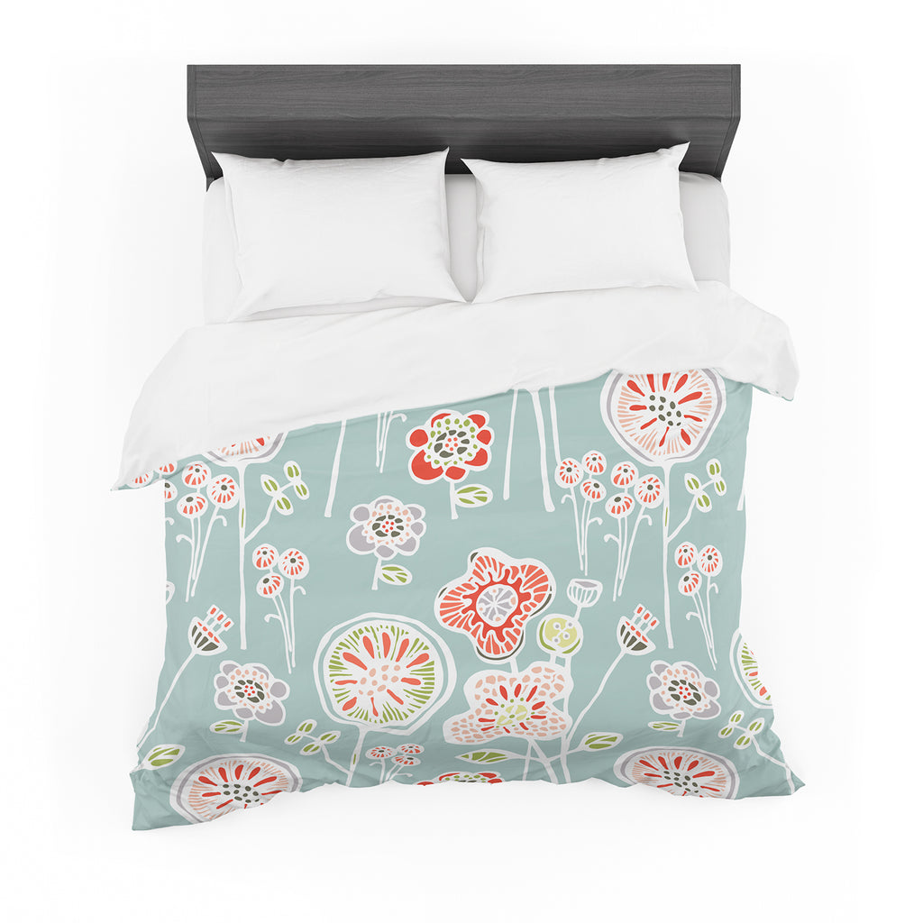 "Gill Eggleston ""Folky Floral Light Jade"" Blue Teal Featherweight Duvet Cover"