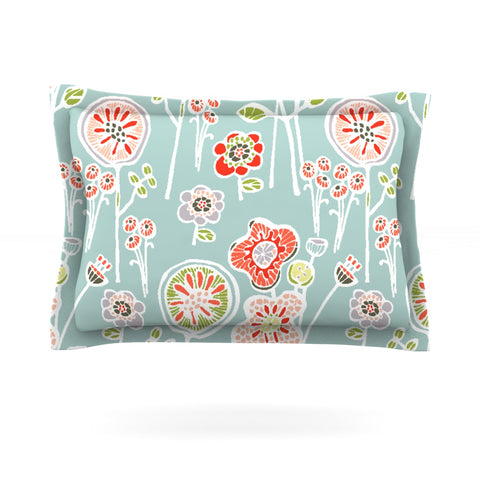 "Gill Eggleston ""Folky Floral Light Jade"" Blue Teal Pillow Sham - Outlet Item"
