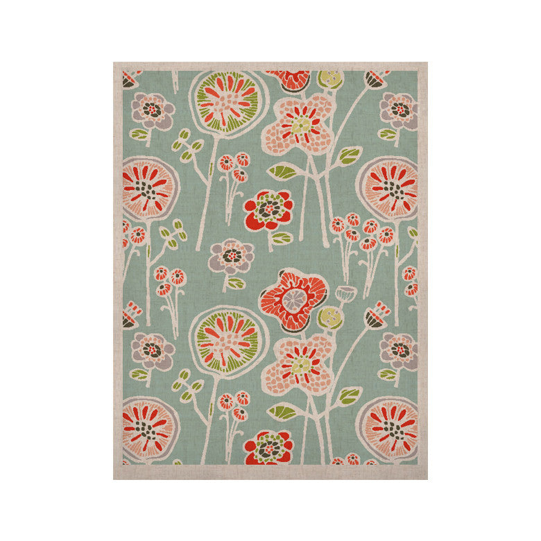 "Gill Eggleston ""Folky Floral Light Jade"" Blue Teal KESS Naturals Canvas (Frame not Included) - KESS InHouse  - 1"