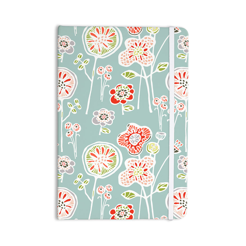 "Gill Eggleston ""Folky Floral Light Jade"" Blue Teal Everything Notebook - KESS InHouse  - 1"