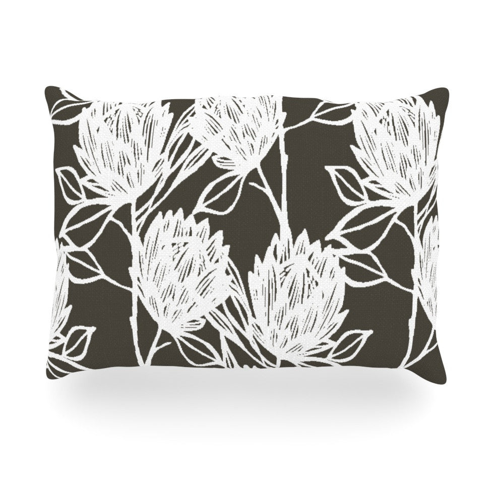 "Gill Eggleston ""Protea Graphite White"" Brown Flowers Oblong Pillow - KESS InHouse"