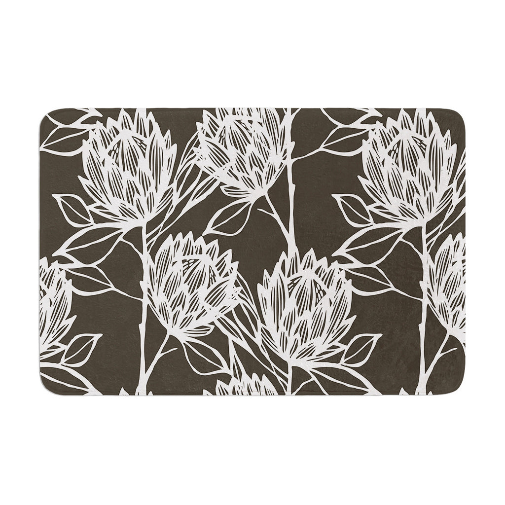 "Gill Eggleston ""Protea Graphite White"" Brown Flowers Memory Foam Bath Mat - KESS InHouse"