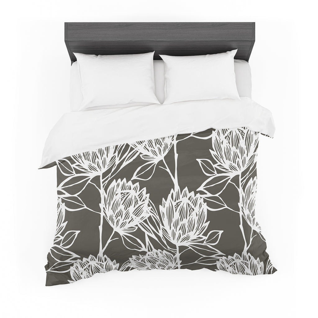 "Gill Eggleston ""Protea Graphite White"" Brown Flowers Featherweight Duvet Cover"