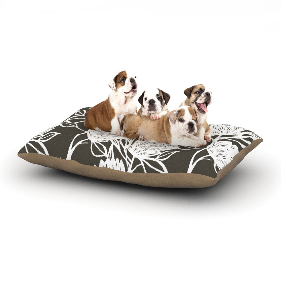 "Gill Eggleston ""Protea Graphite White"" Brown Flowers Dog Bed - KESS InHouse  - 1"