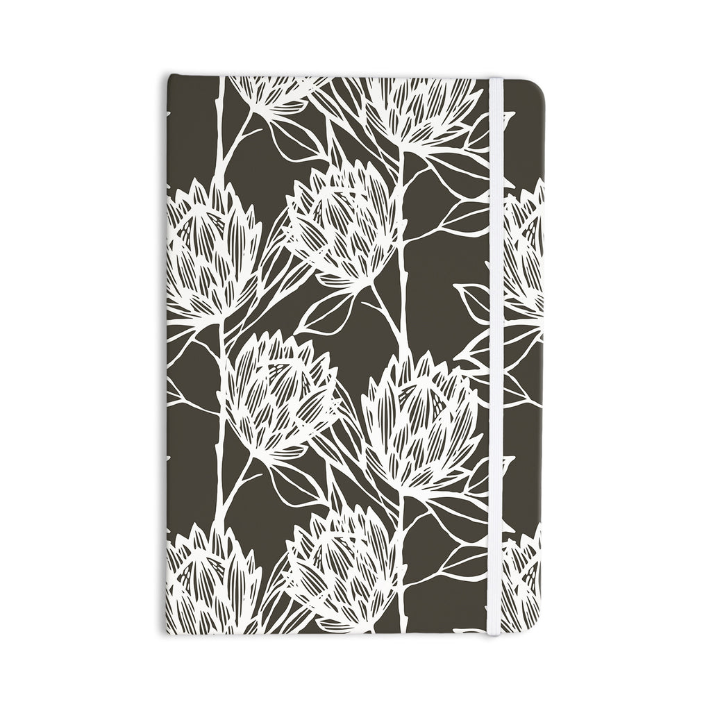 "Gill Eggleston ""Protea Graphite White"" Brown Flowers Everything Notebook - KESS InHouse  - 1"