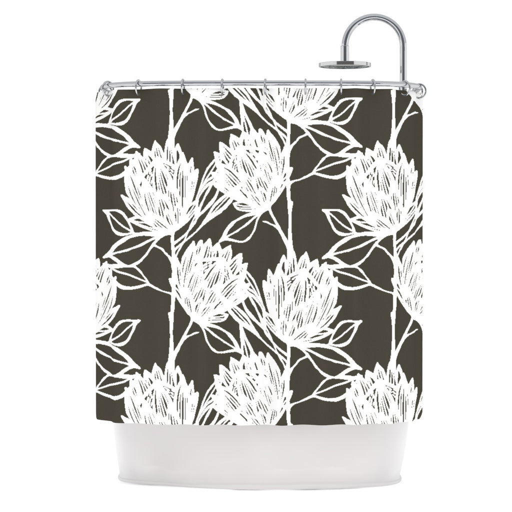 "Gill Eggleston ""Protea Graphite White"" Brown Flowers Shower Curtain - KESS InHouse"