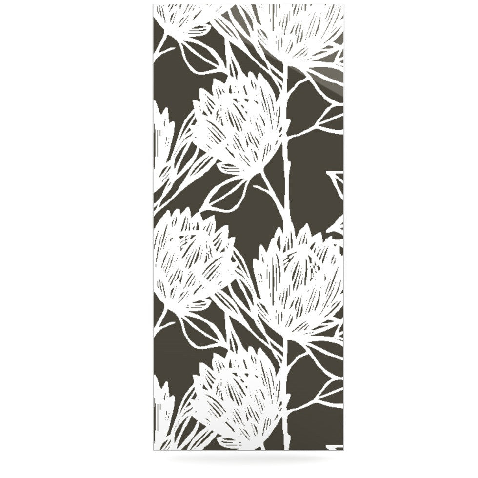 "Gill Eggleston ""Protea Graphite White"" Brown Flowers Luxe Rectangle Panel - KESS InHouse  - 1"