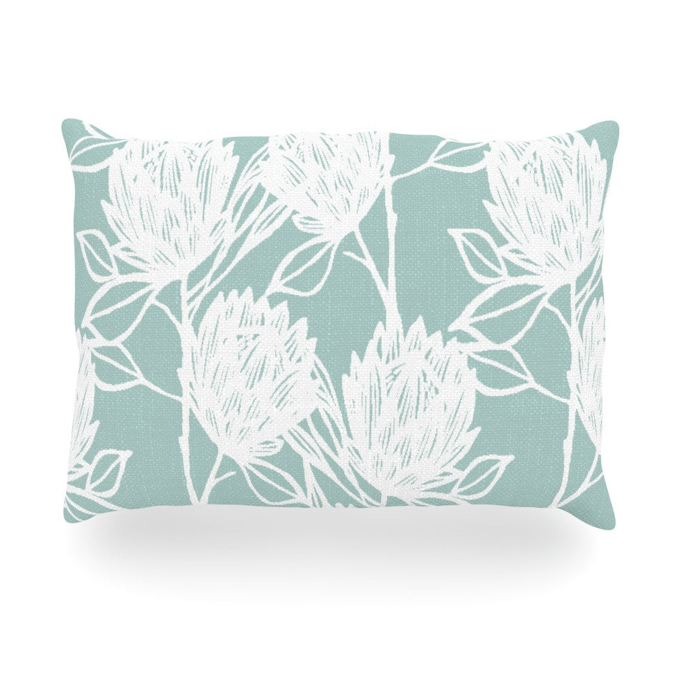 "Gill Eggleston ""Protea Jade White"" Blue Flowers Oblong Pillow - KESS InHouse"