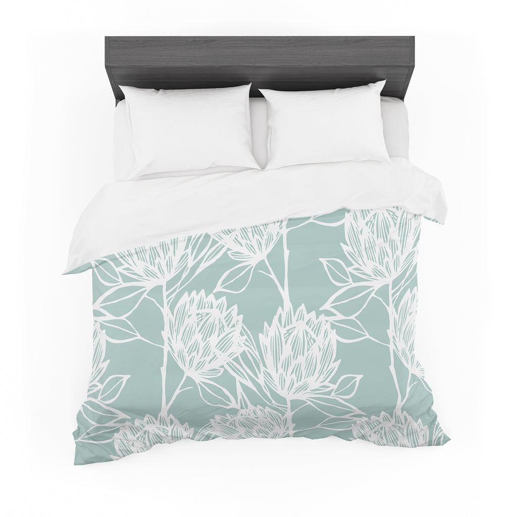 "Gill Eggleston ""Protea Jade White"" Blue Flowers Featherweight Duvet Cover"