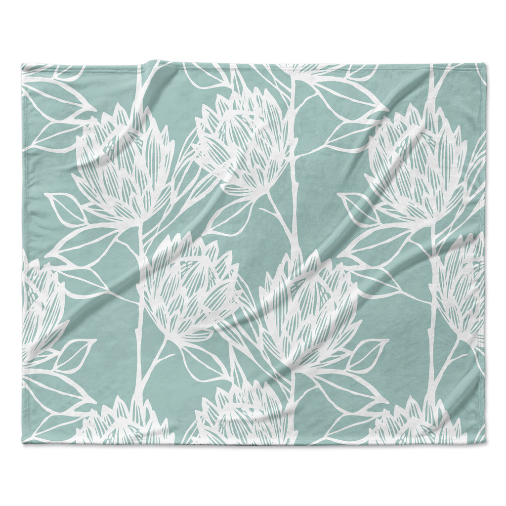 "Gill Eggleston ""Protea Jade White"" Blue Flowers Fleece Throw Blanket"
