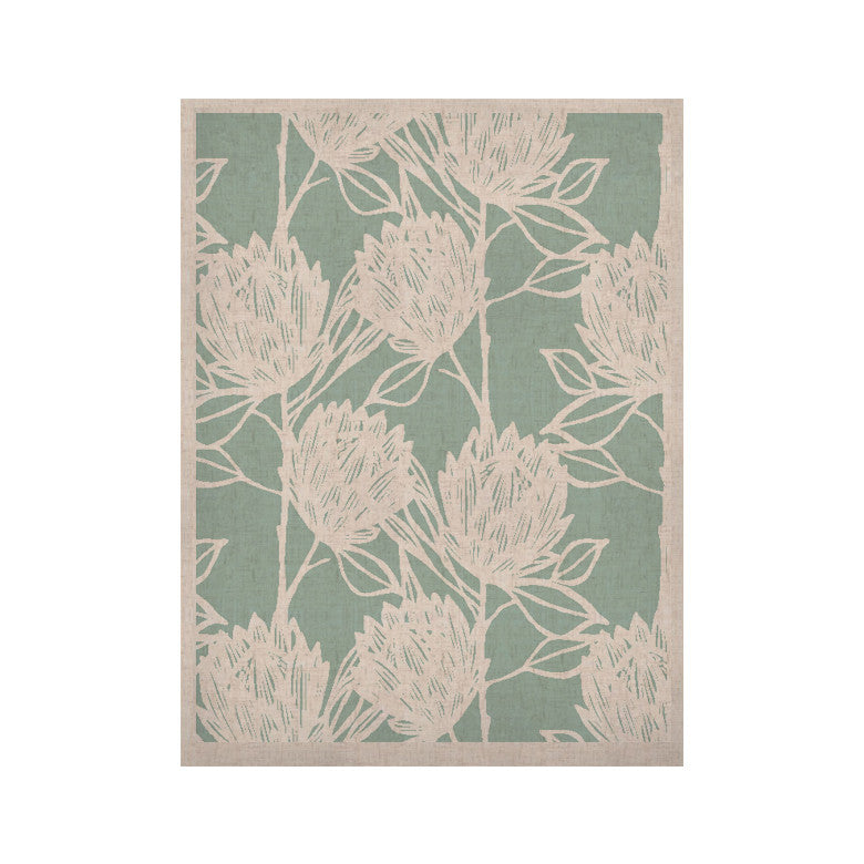 "Gill Eggleston ""Protea Jade White"" Blue Flowers KESS Naturals Canvas (Frame not Included) - KESS InHouse  - 1"